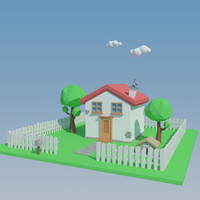 3d cartoon house polys model
