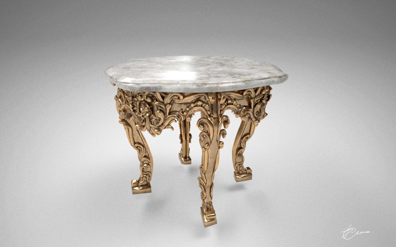 3d obj antique table