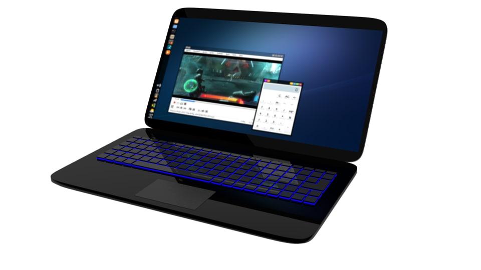 3d model glossy simple laptop