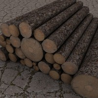 Logs Wooden Posts 3D Model