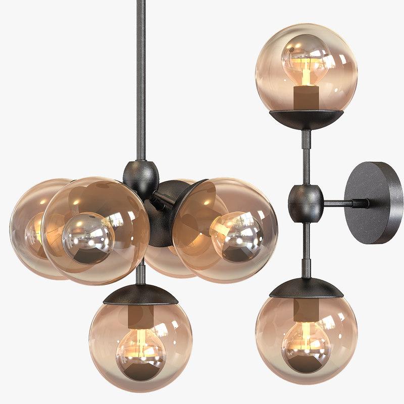 3d chandelier 5 light