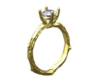Golden tree diamond ring