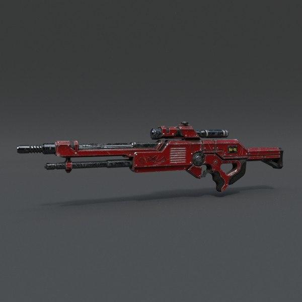 3d rifle pbr details model