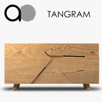 at-once tangram wooden credenza 3d model