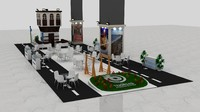 3d fair exhibition wooden stand model