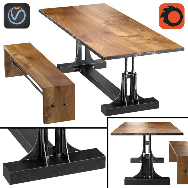 post industrial table bench 3d model