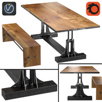 Post Industrial table and bench2