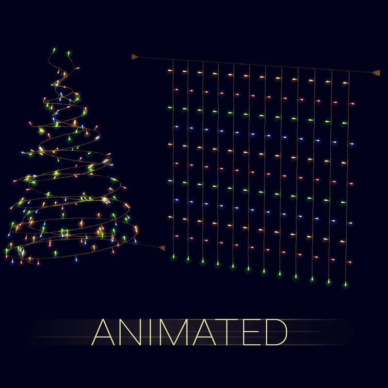 led garlands animation 3d model