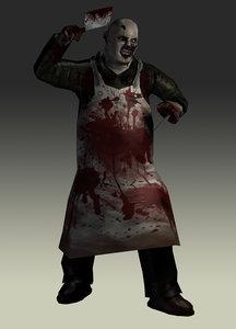 3d zombie butcher model