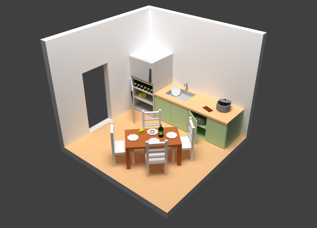 3d kitchen drawer
