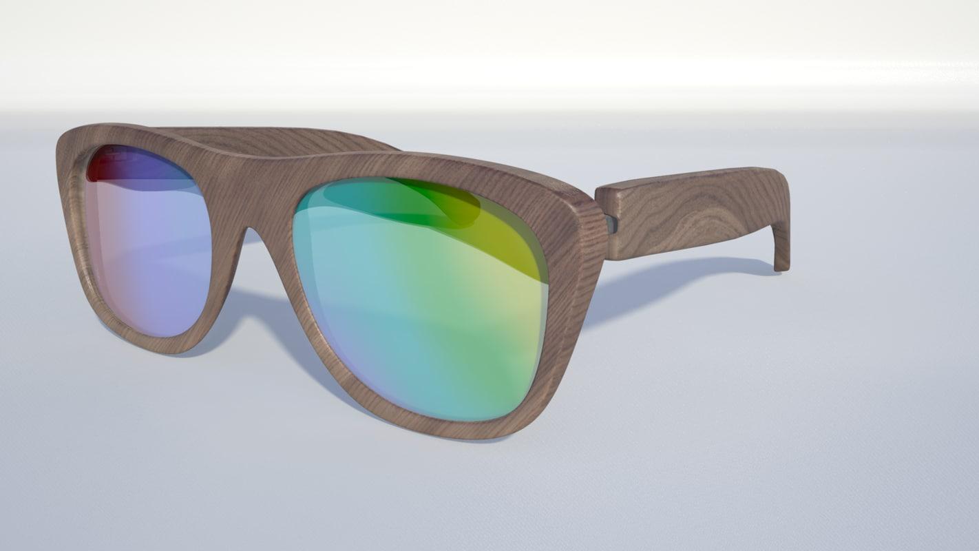 3d model wood sunglasses