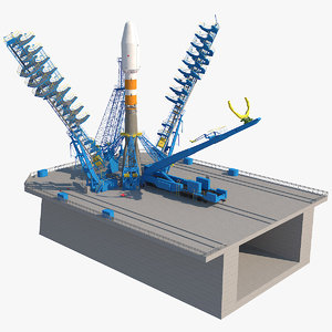 3d model soyuz-2 launcher launch pad