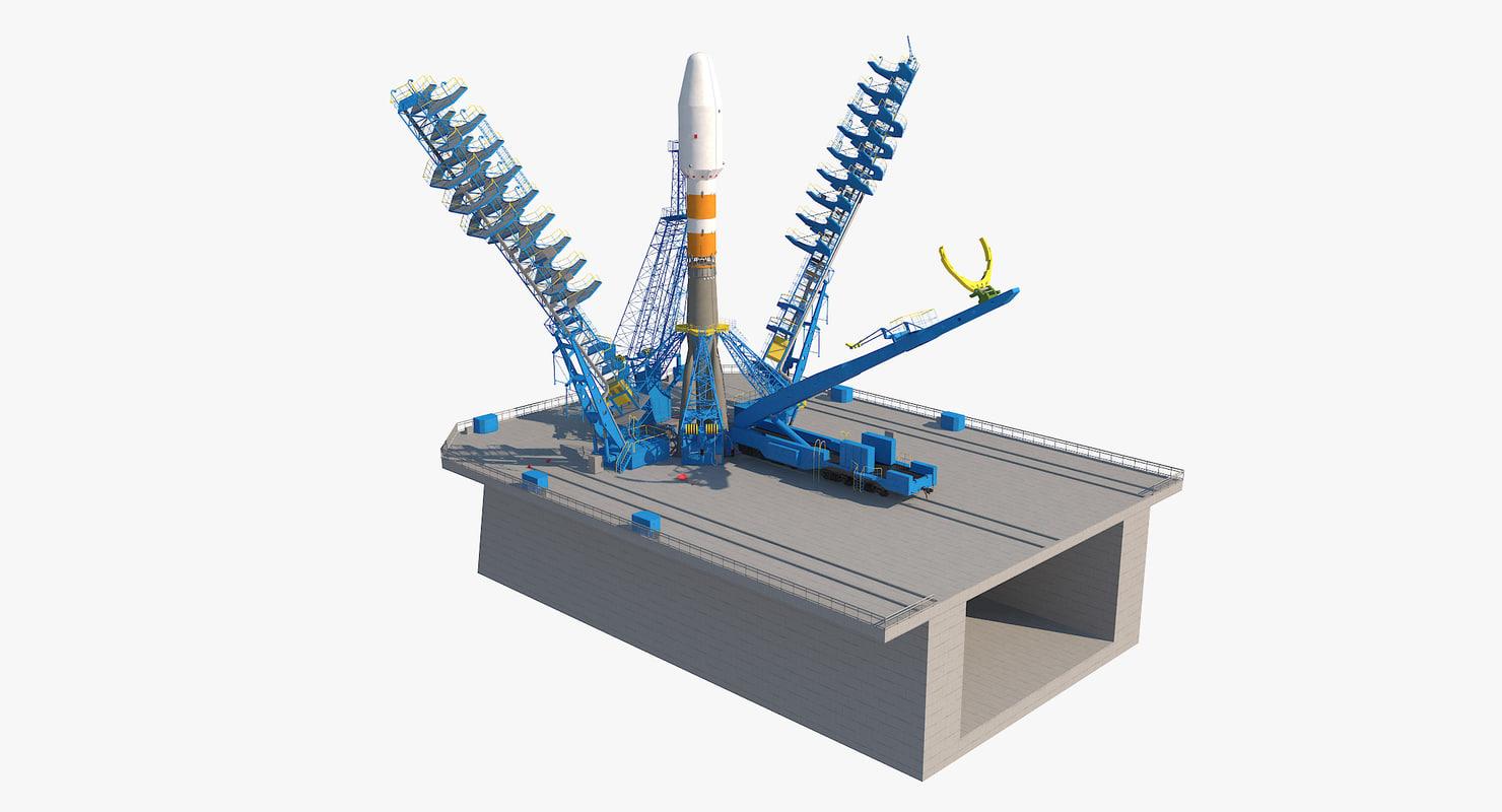 3d model soyuz-2 launcher launch pad