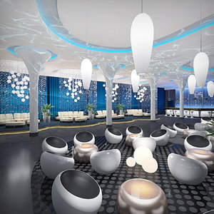 exclusive lounge interior night club 3d max