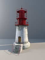3D  Lighthouse low-poly with LODs and PBR textures