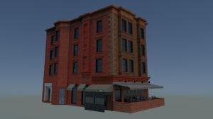 3d model of corner apartment building restaurant
