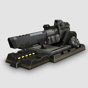 3d model of sci-fi turret