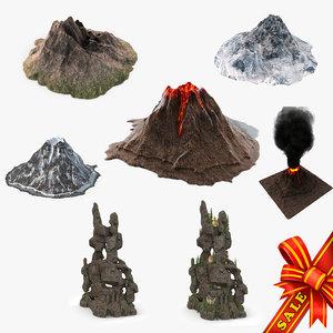 3d volcanoes mountains model