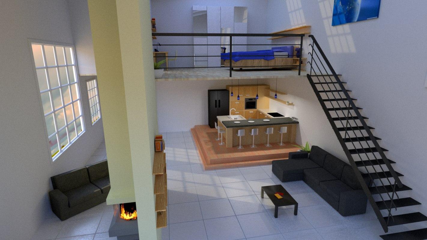 loft bedroom bathroom 3ds