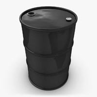 realistic oil barrel black 3d model