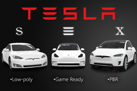 3d model pack low-poly tesla s