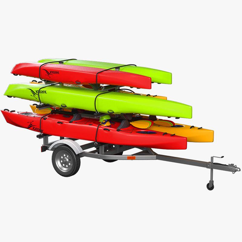 kayak trailer 3d model
