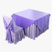 3d banquet chair table model