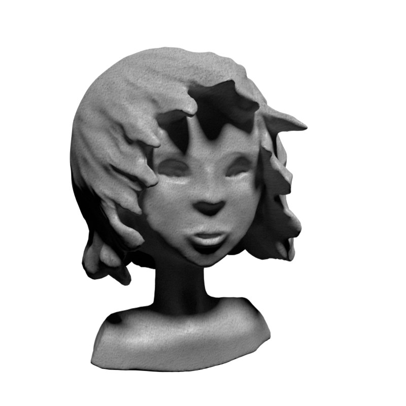 3d model of statue young girl
