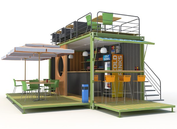 container cafe 3d max