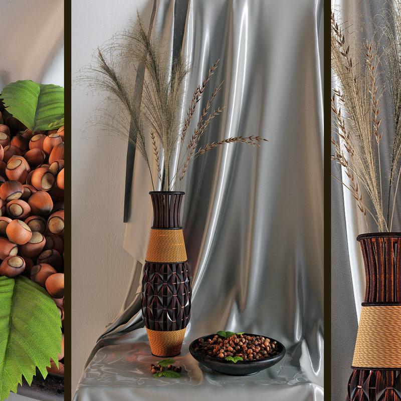 decorative vase nuts 3d model