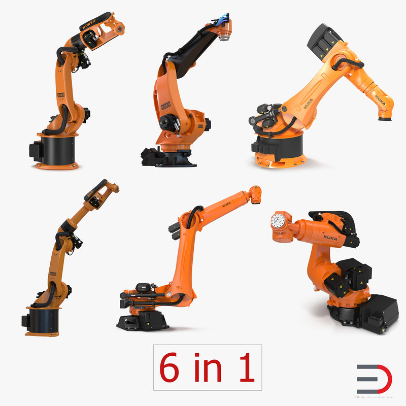 3d model kuka robots rigged 5