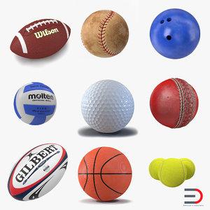 3d model sport balls 3 modeled