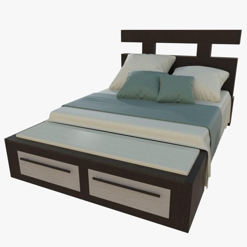 king size bed 3d obj