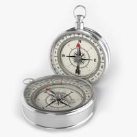 silver compass 3d model