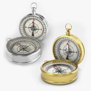 3d model silver compass