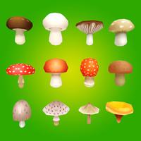 3d model mushrooms ready