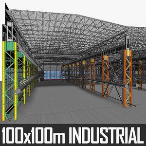 industrial building interior 3d model