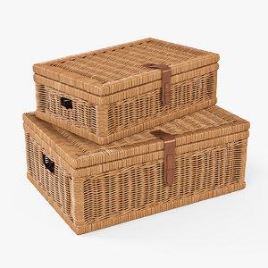 wicker basket oat color 3d model