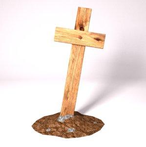cross rusty nail 3d model