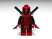3d lego minifig deadpool