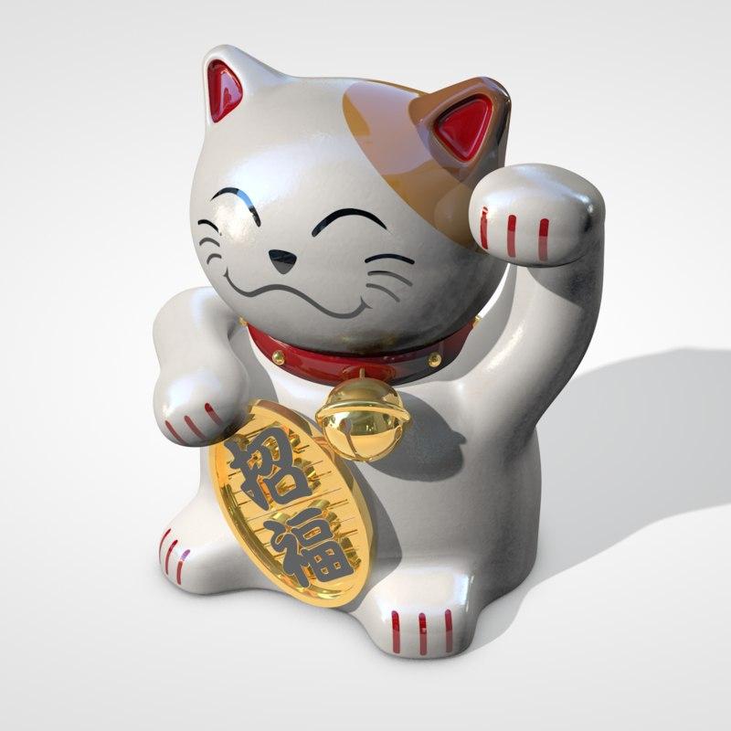 japanese lucky cat 3d c4d