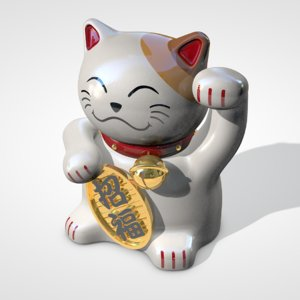 japanese lucky cat 3d c4d