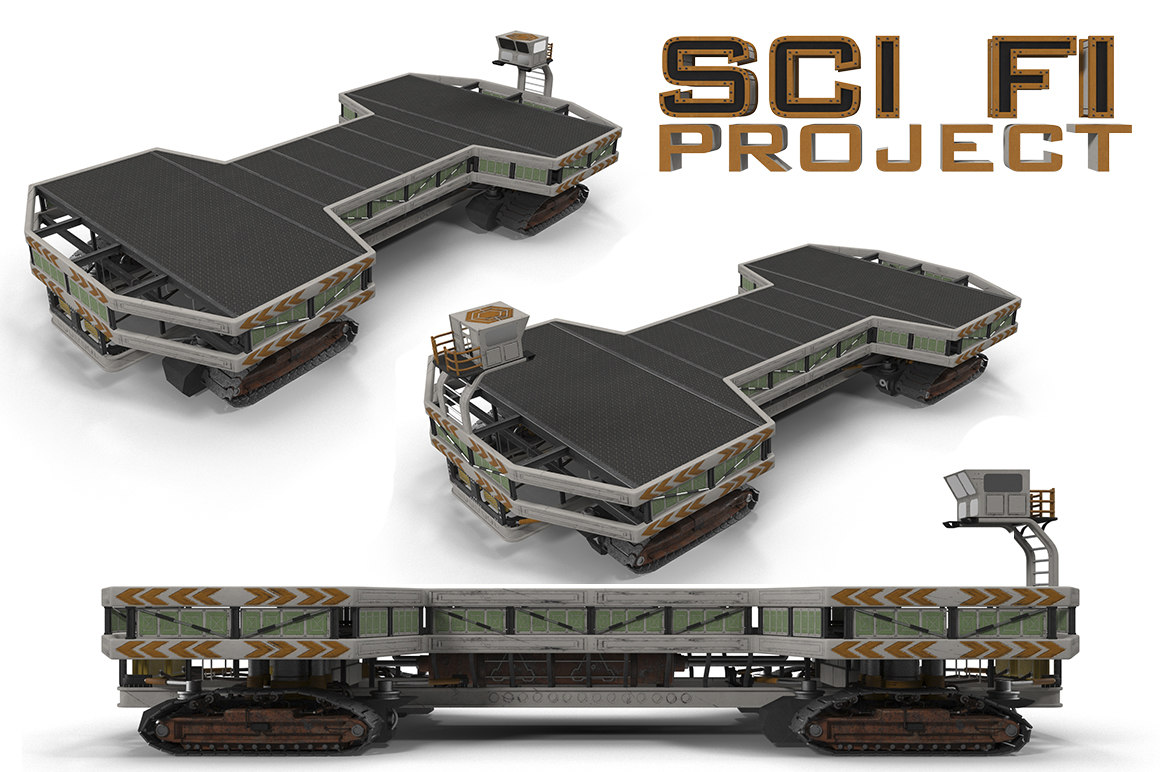 3d sci fi cargo loader model