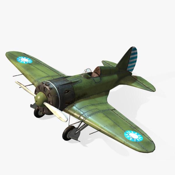 aircraft polikarpov i-16 real-time 3d model