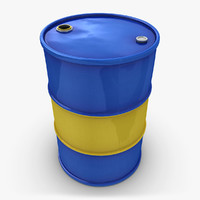 realistic oil barrel blue 3d model