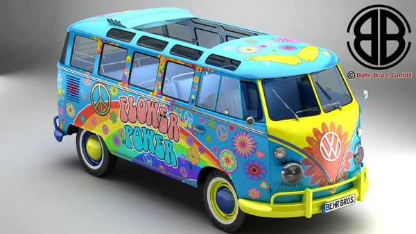 3d model volkswagen type 2 samba
