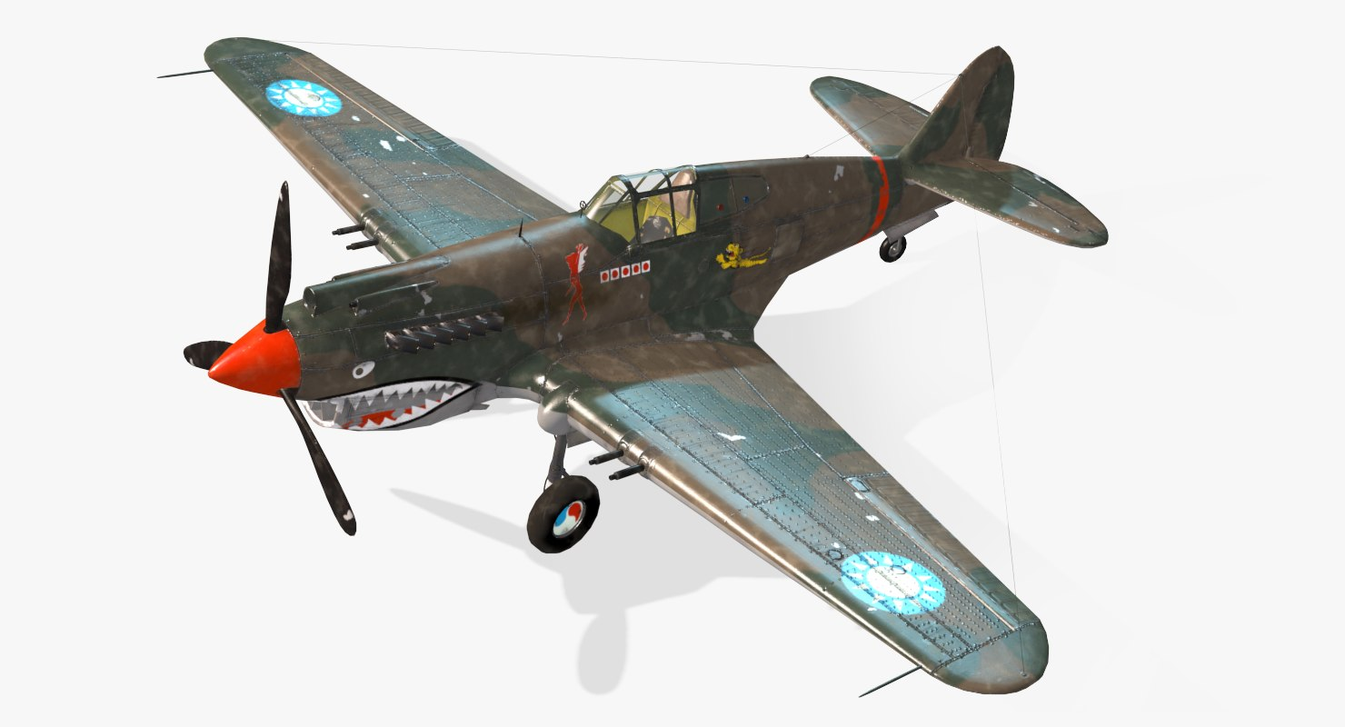 3d model american p-40b real-time