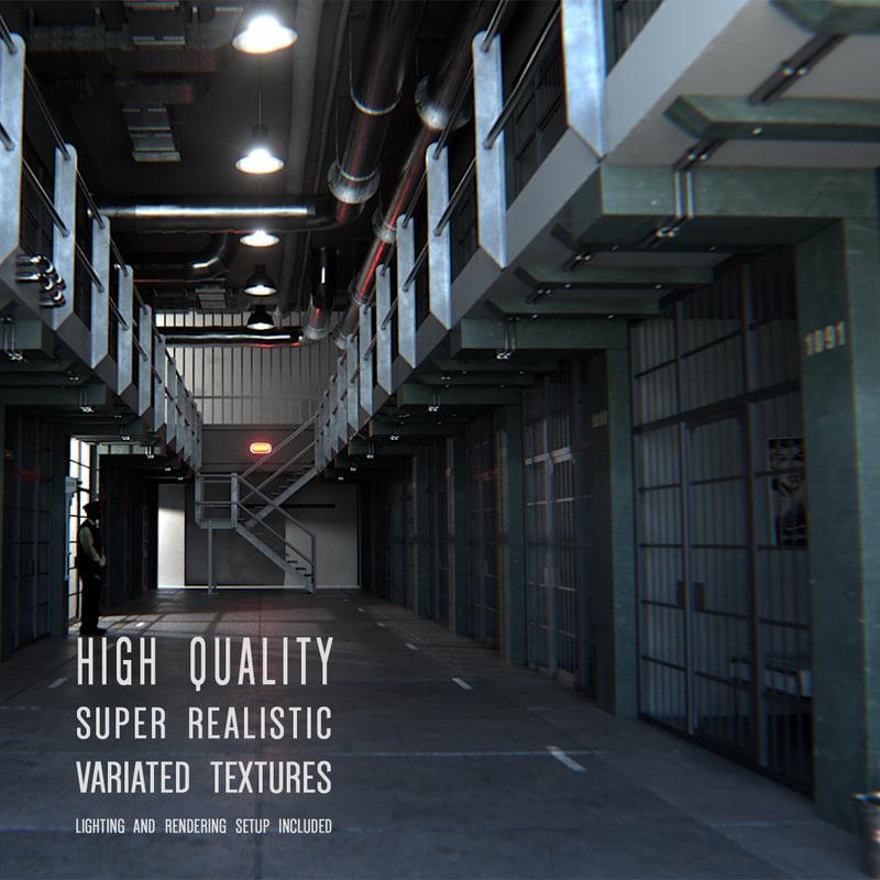 3d prison interior modeled