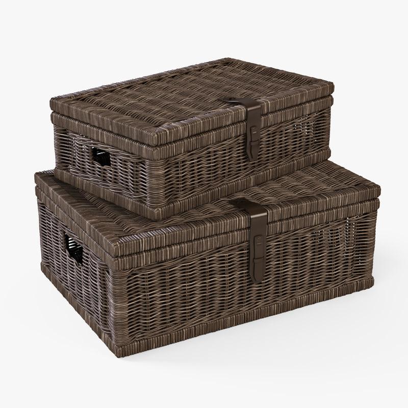 3d wicker basket brown color