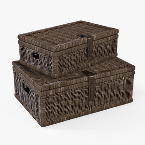 3d wicker basket brown color